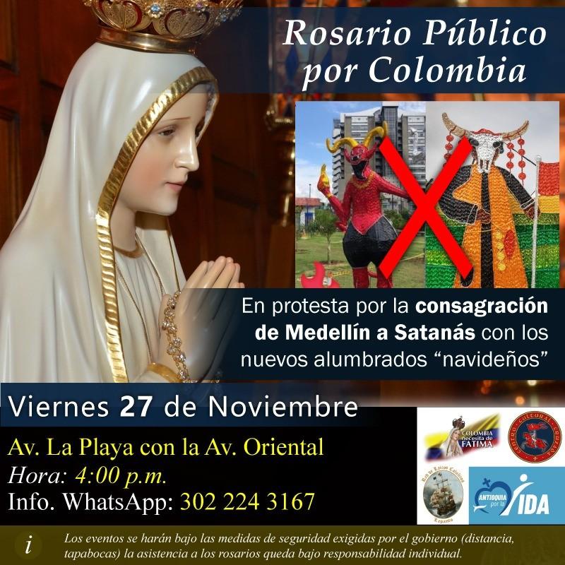 Centro Cultural Cruzada convoca un Rosario Público por Colombia el próximo 27 de noviembre.